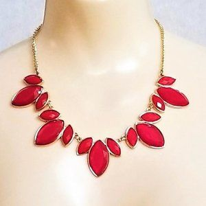 """Chico's Statement Necklace Red Gold Tone 18"""""""